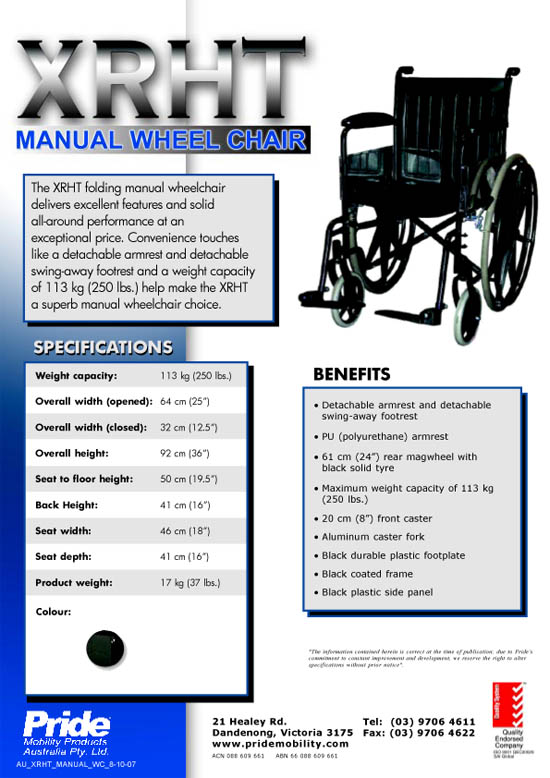 AU_XRHT_Manual Chair Sell Sheet_8-07 v 3